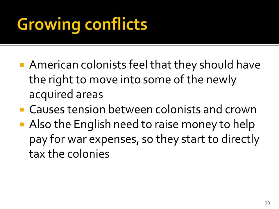 Growing conflicts American colonists feel that they should have the right to move into some of the newly acquired areas.