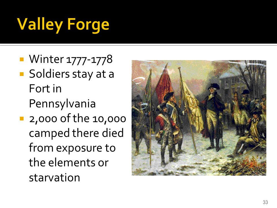 Valley Forge Winter Soldiers stay at a Fort in Pennsylvania
