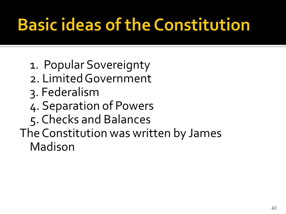 Basic ideas of the Constitution