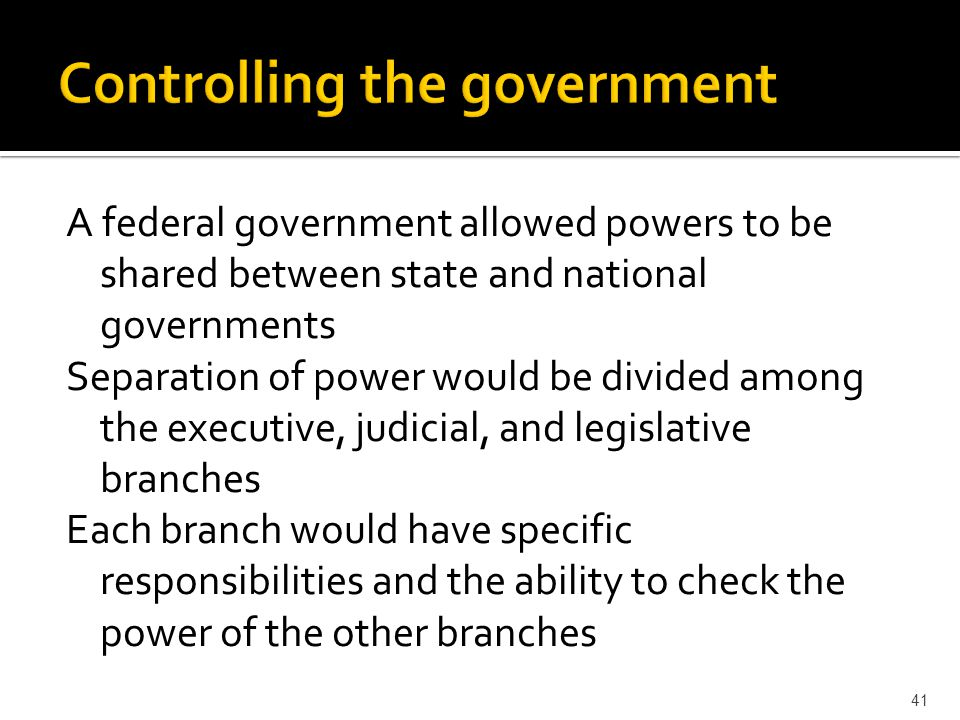 Controlling the government