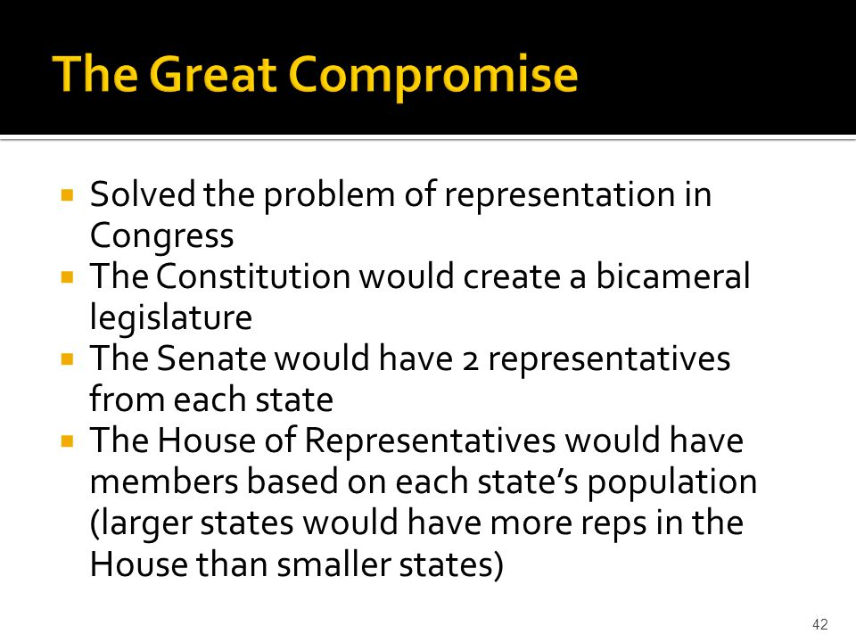 The Great Compromise Solved the problem of representation in Congress