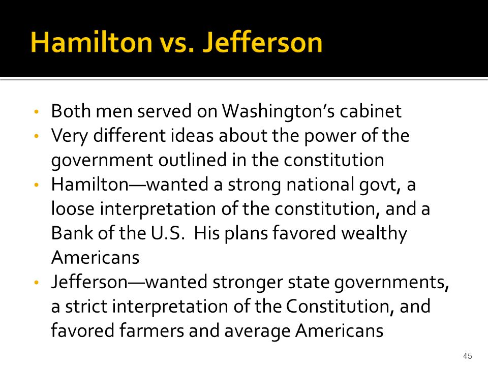 Hamilton vs. Jefferson Both men served on Washington's cabinet