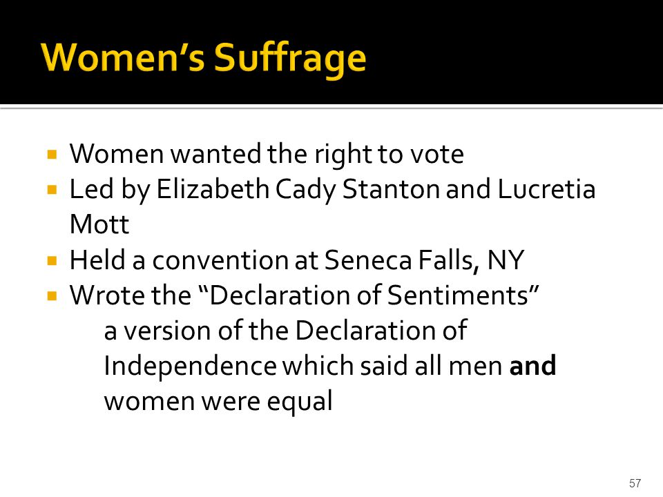 Women's Suffrage Women wanted the right to vote