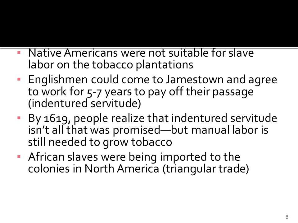 Native Americans were not suitable for slave labor on the tobacco plantations