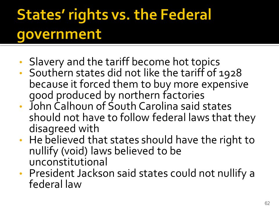States' rights vs. the Federal government