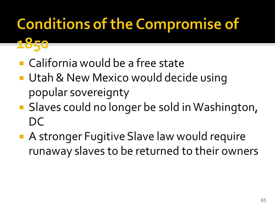 Conditions of the Compromise of 1850