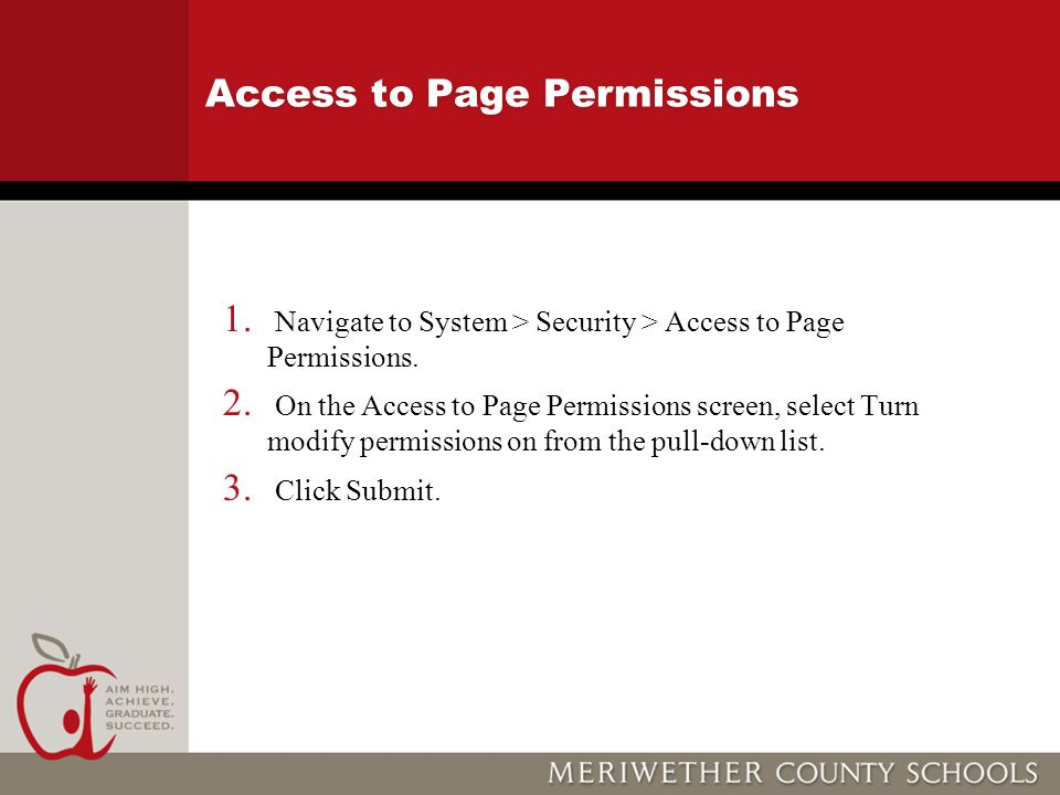 Access to Page Permissions