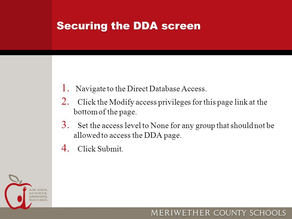 Securing the DDA screen