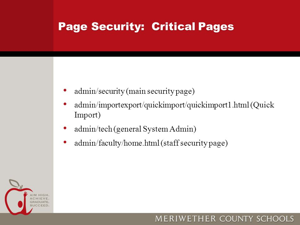 Page Security: Critical Pages