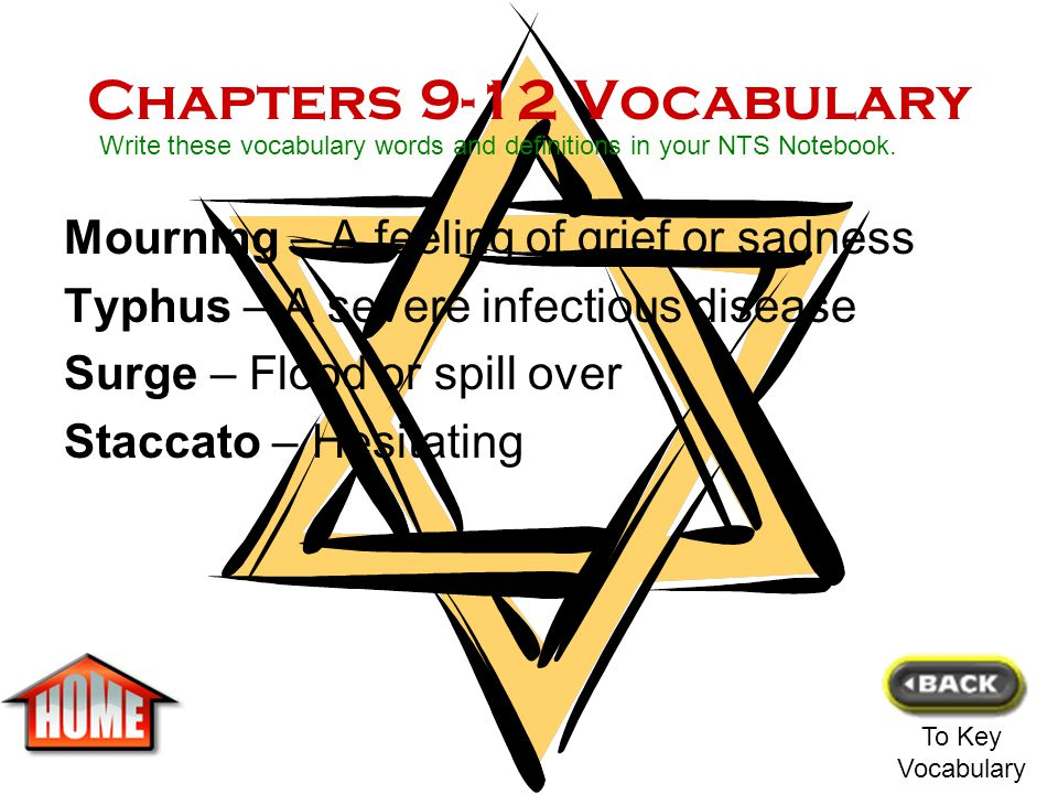Chapters 9-12 Vocabulary Mourning – A feeling of grief or sadness