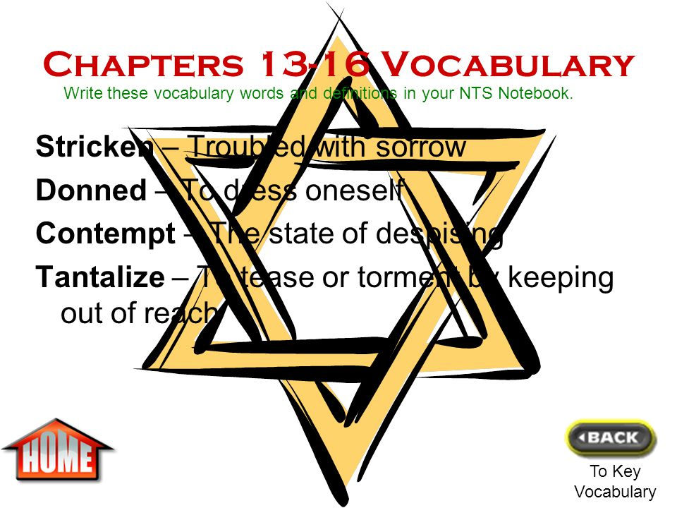 Chapters 13-16 Vocabulary Stricken – Troubled with sorrow