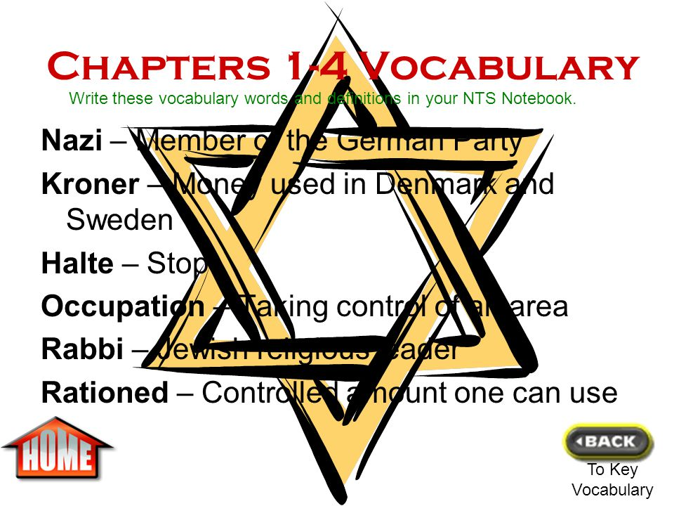 Chapters 1-4 Vocabulary Nazi – Member of the German Party