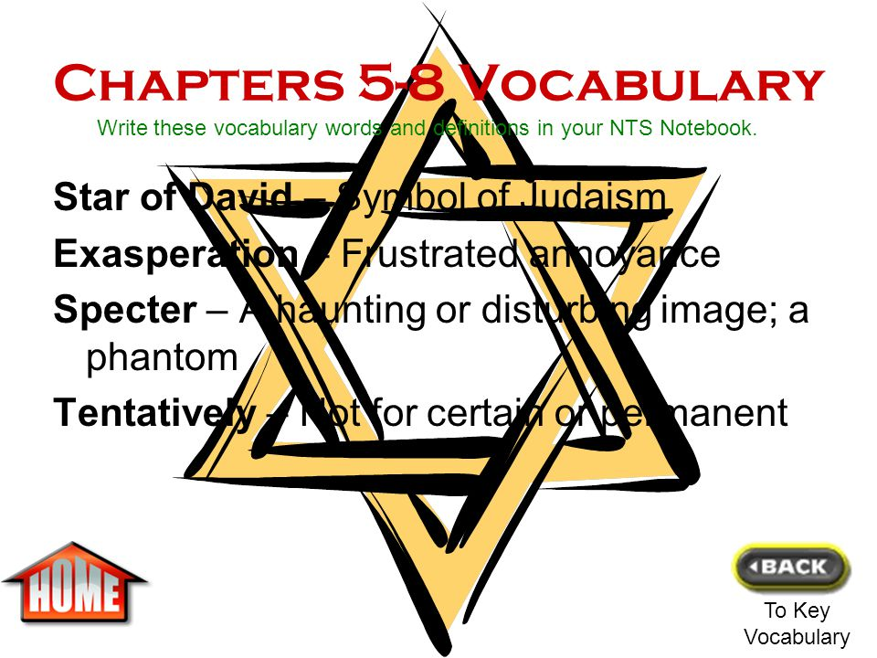 Chapters 5-8 Vocabulary Star of David – Symbol of Judaism
