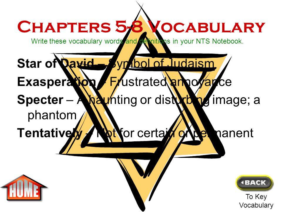 Chapters 5-8 Vocabulary Star of David – Symbol of Judaism