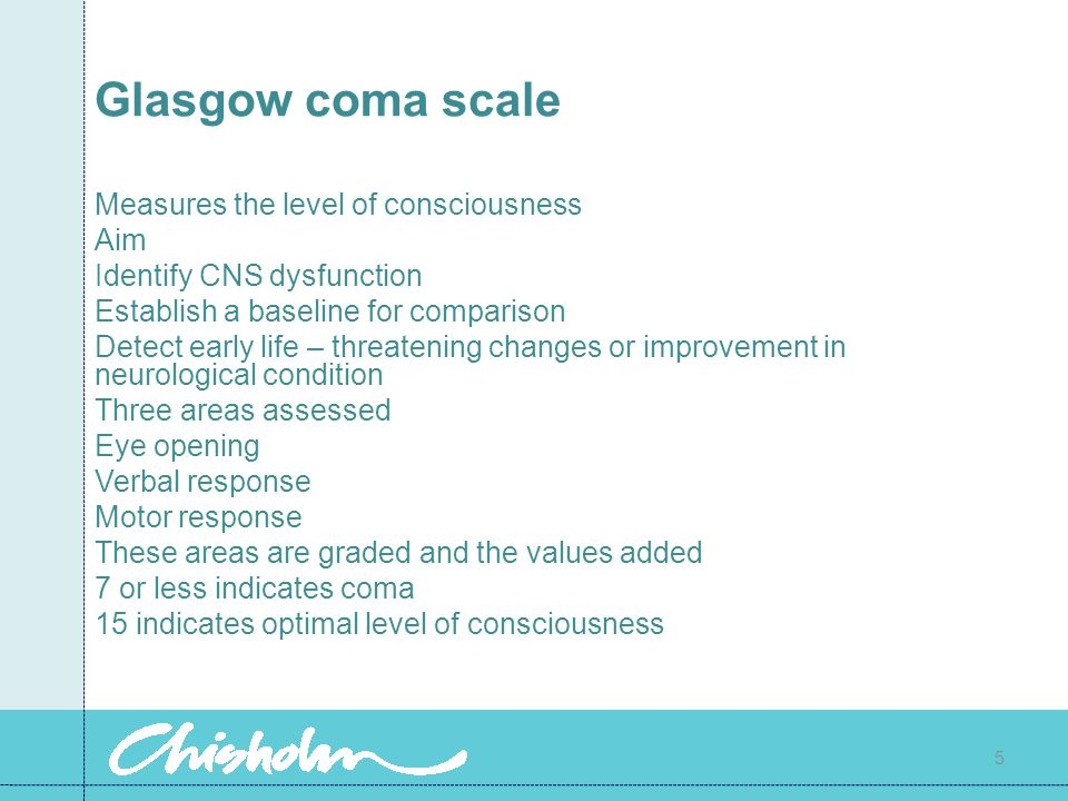 Glasgow coma scale Measures the level of consciousness Aim
