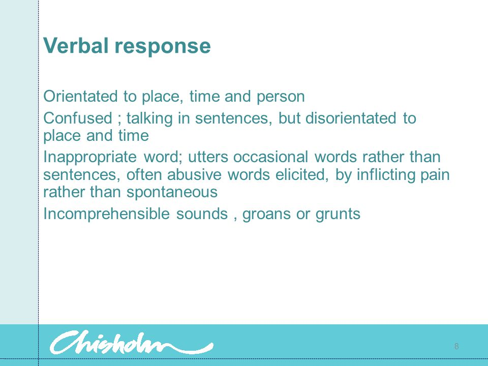 Verbal response Orientated to place, time and person