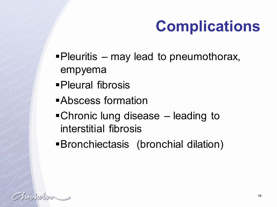 Complications Pleuritis – may lead to pneumothorax, empyema