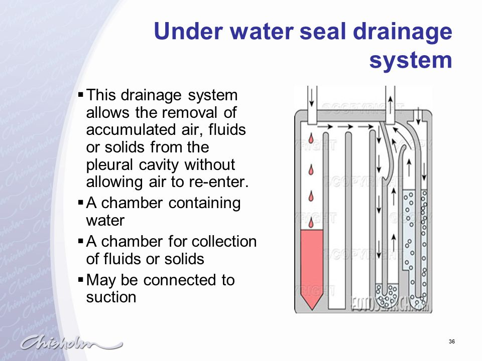 Under water seal drainage system