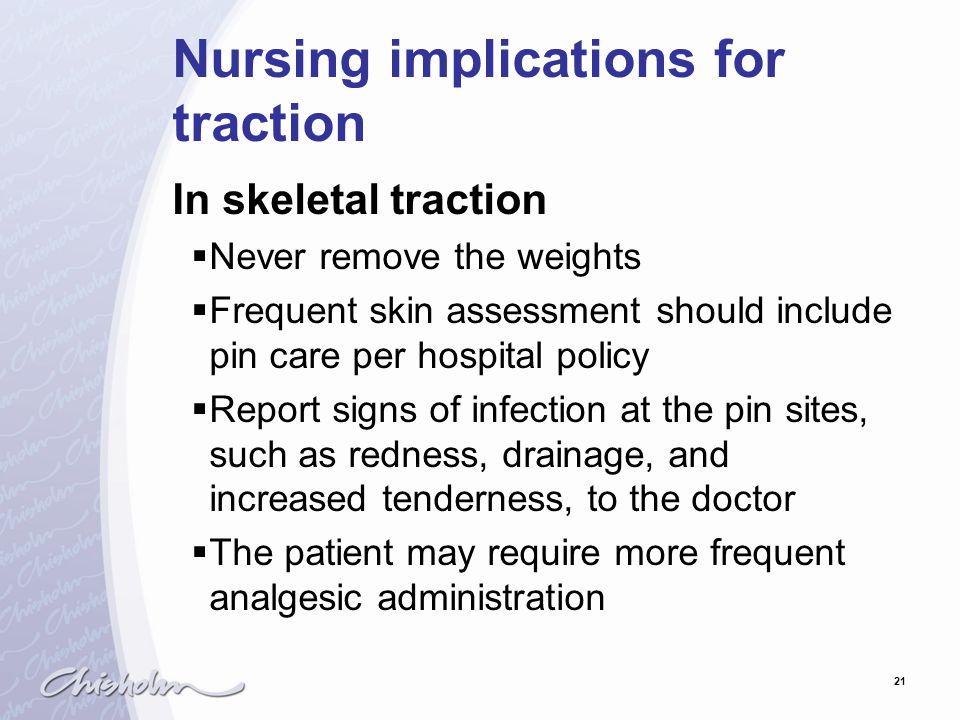 Nursing implications for traction