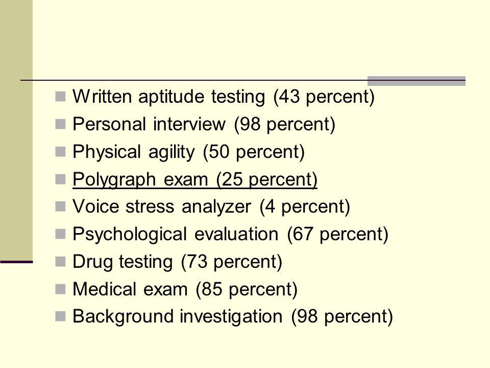 Written aptitude testing (43 percent)