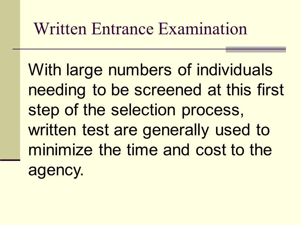Written Entrance Examination
