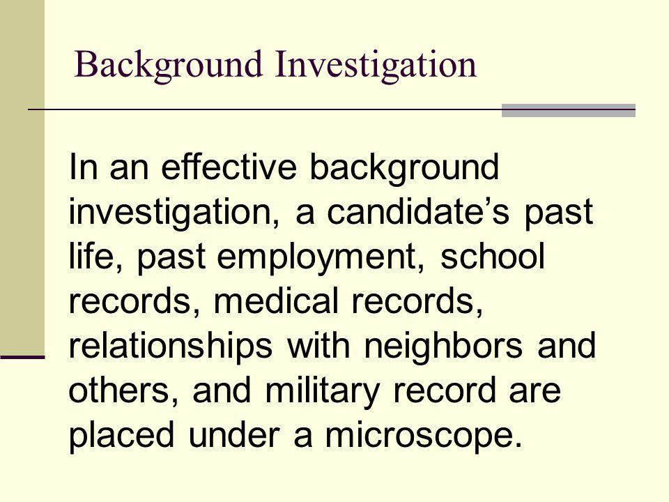 Background Investigation