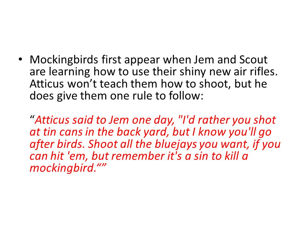 Mockingbirds first appear when Jem and Scout are learning how to use their shiny new air rifles.