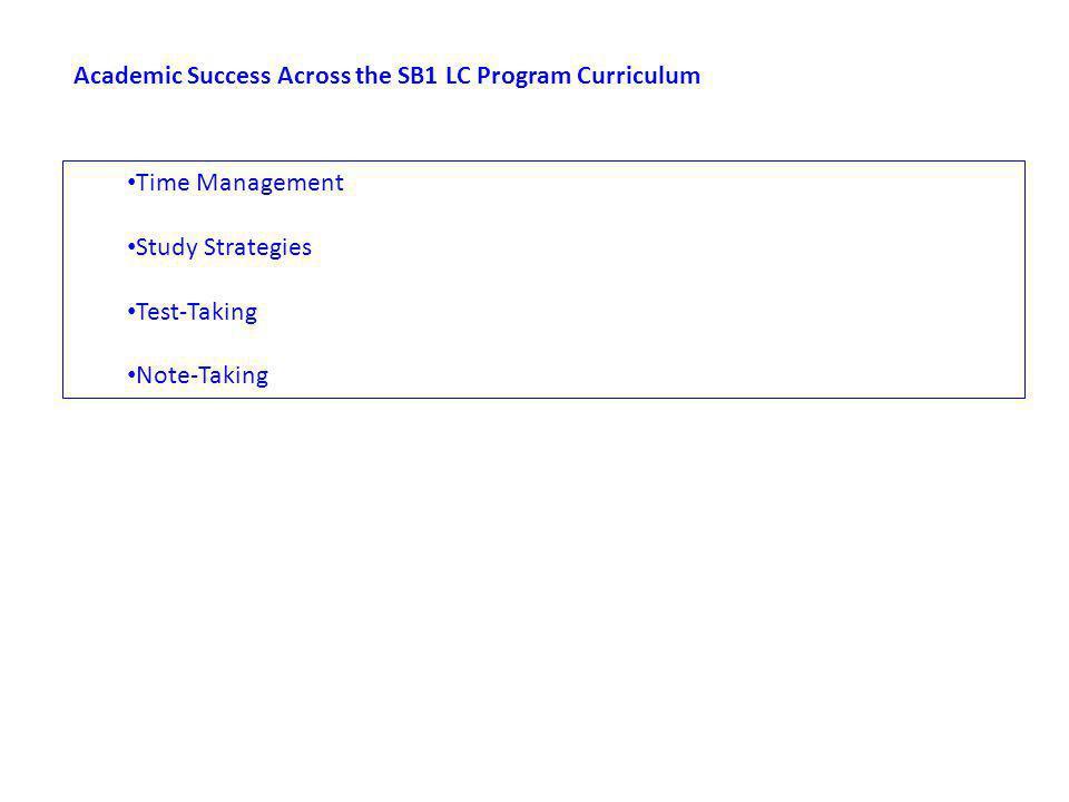 Academic Success Across the SB1 LC Program Curriculum