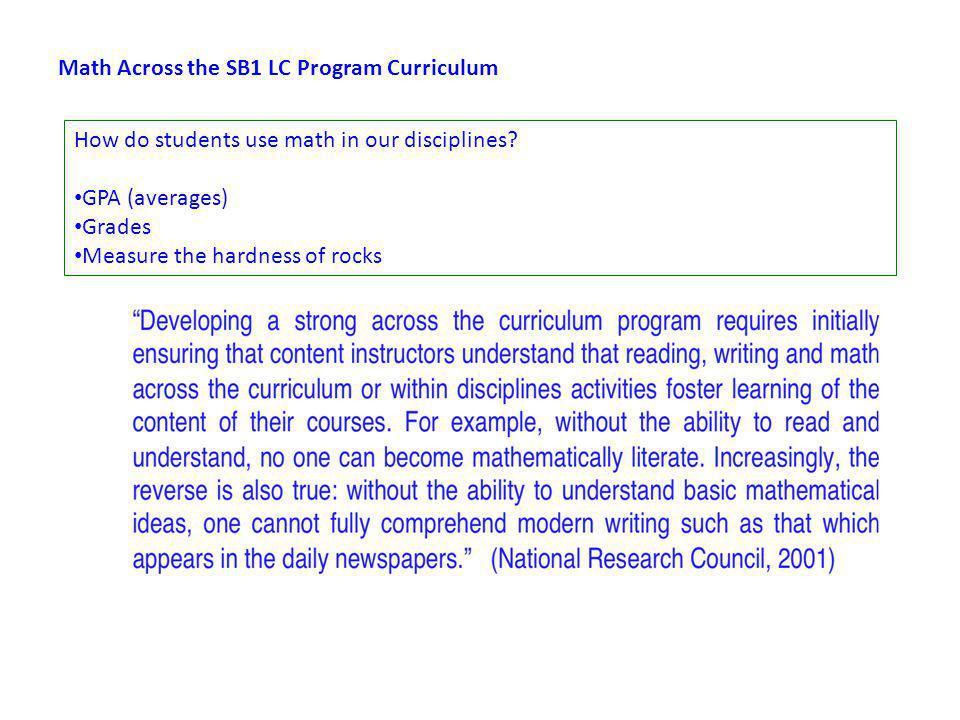 Math Across the SB1 LC Program Curriculum