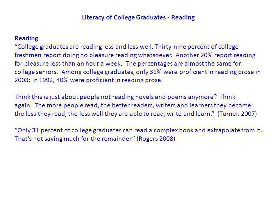 Literacy of College Graduates - Reading