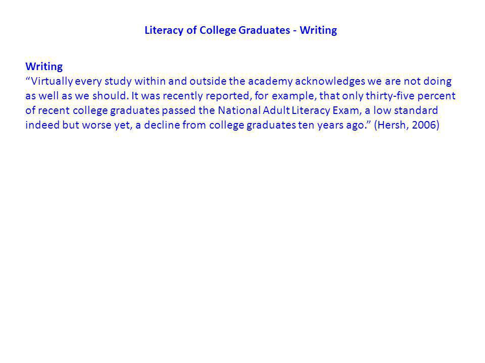 Literacy of College Graduates - Writing