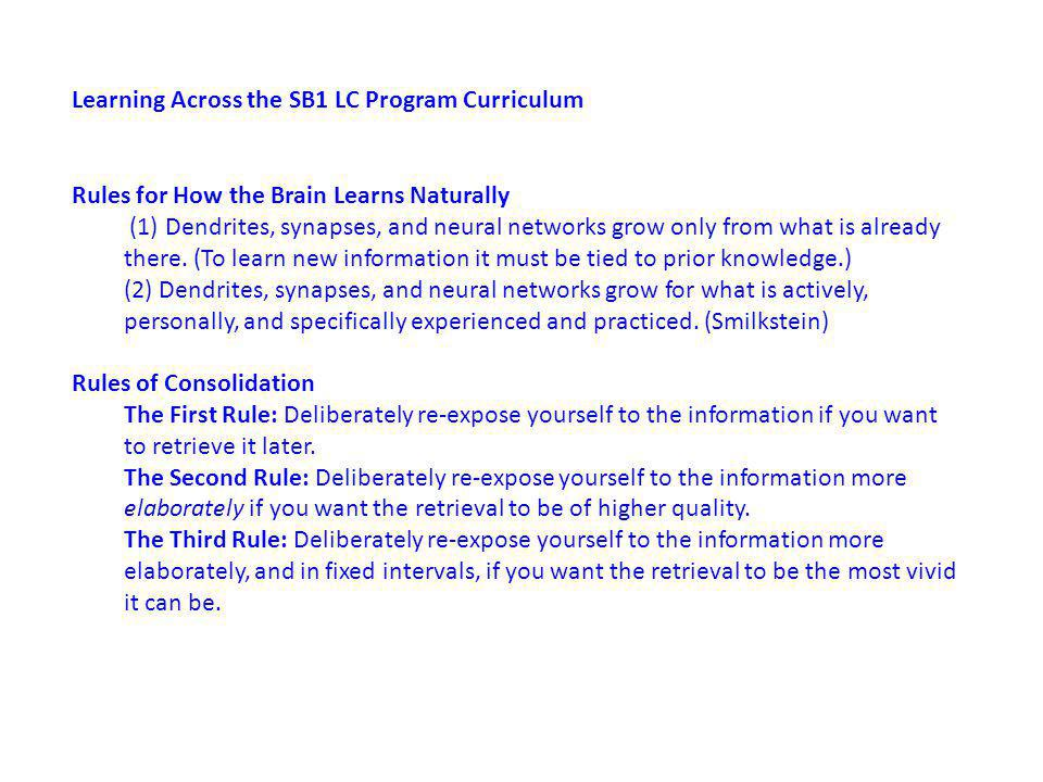 Learning Across the SB1 LC Program Curriculum