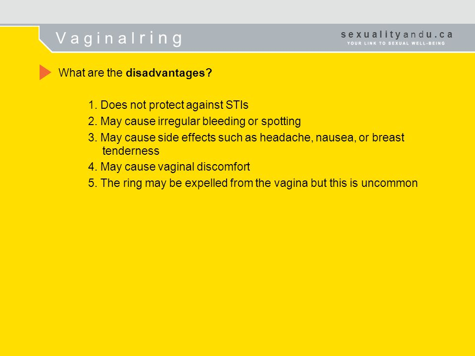 V a g i n a l r i n g 2. May cause irregular bleeding or spotting
