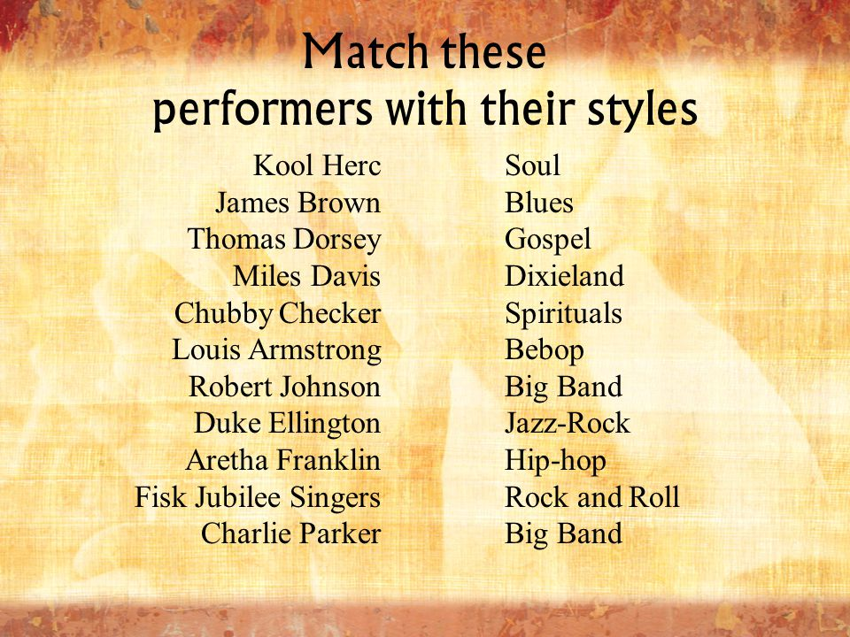 Match these performers with their styles