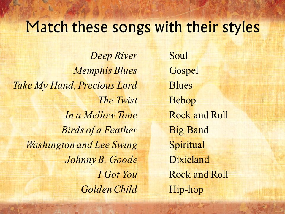 Match these songs with their styles