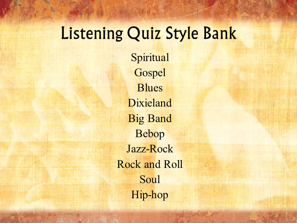 Listening Quiz Style Bank