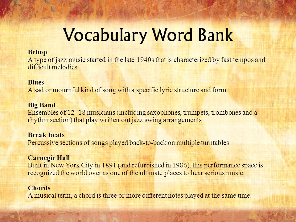 Vocabulary Word Bank Bebop