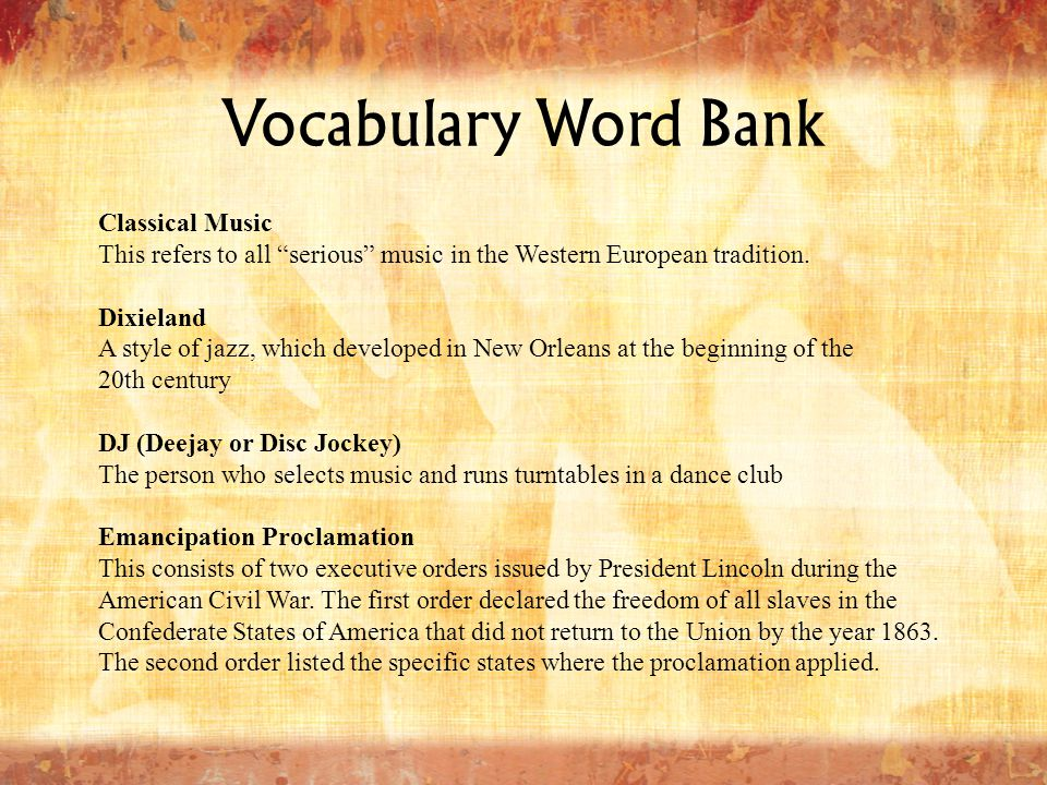 Vocabulary Word Bank Classical Music