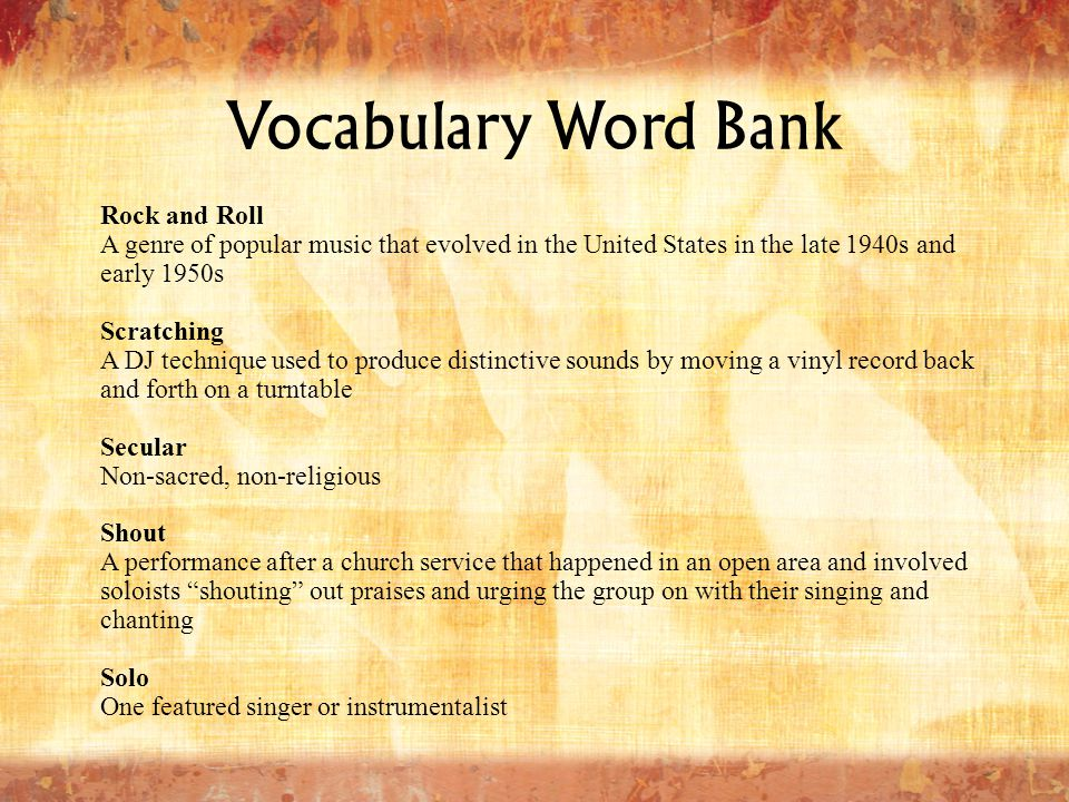 Vocabulary Word Bank Rock and Roll