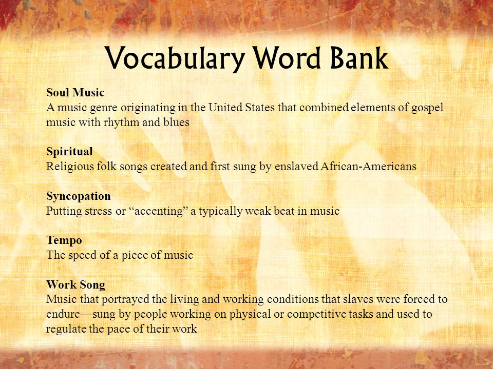 Vocabulary Word Bank Soul Music