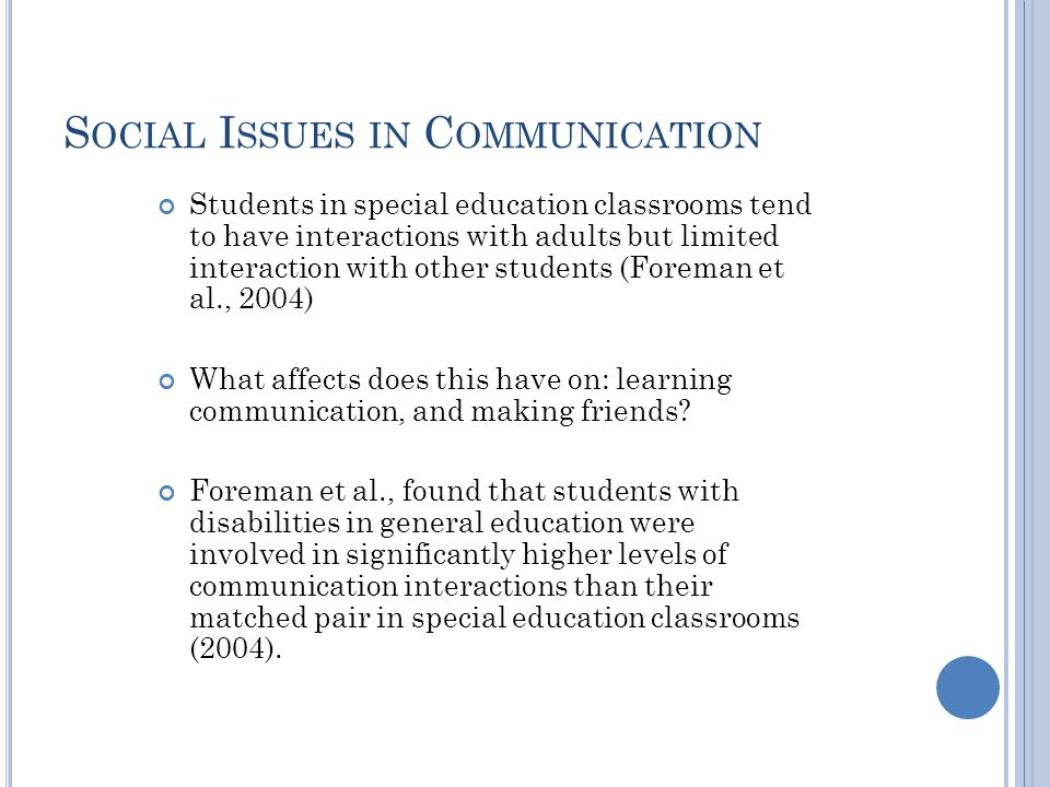Social Issues in Communication