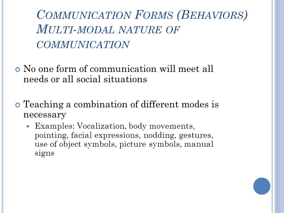Communication Forms (Behaviors) Multi-modal nature of communication