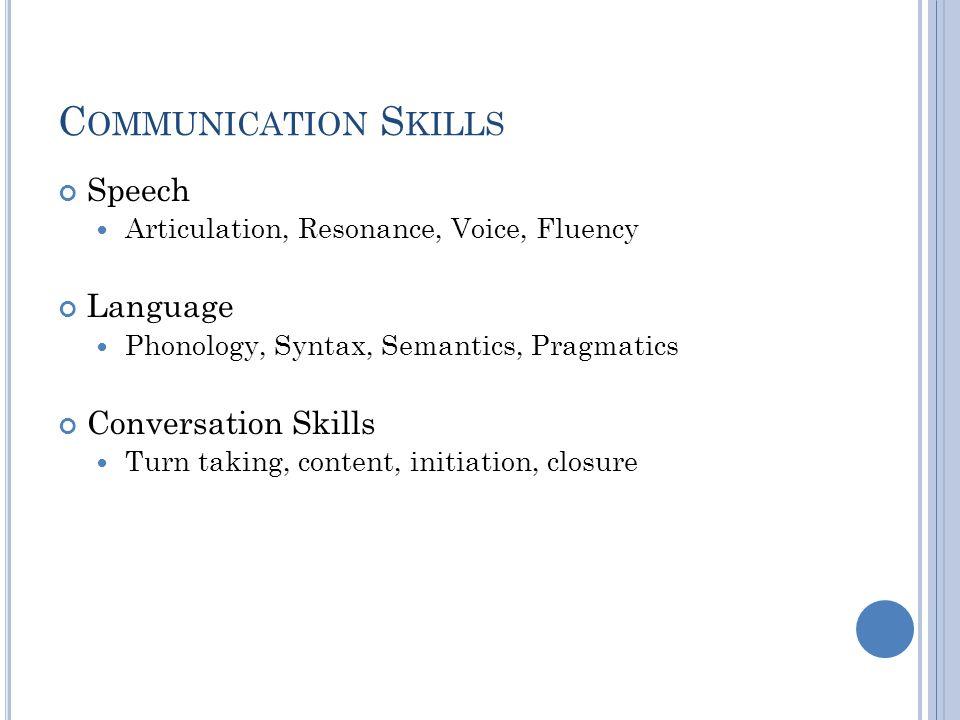 Communication Skills Speech Language Conversation Skills