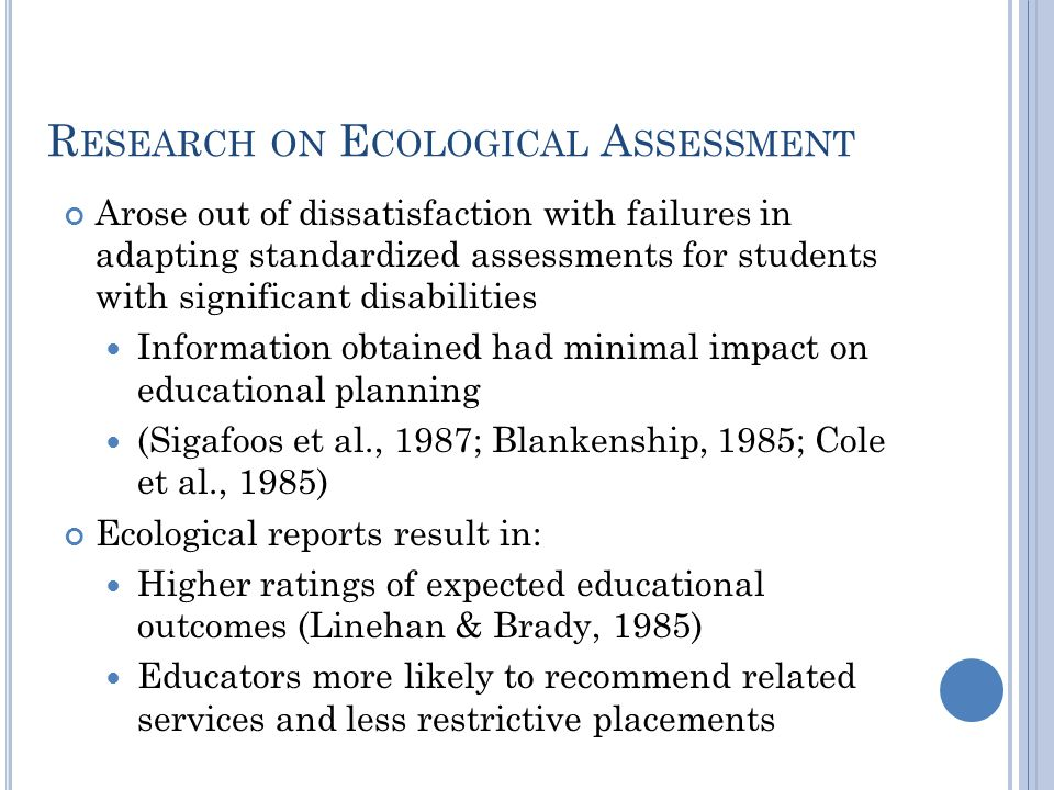 Research on Ecological Assessment