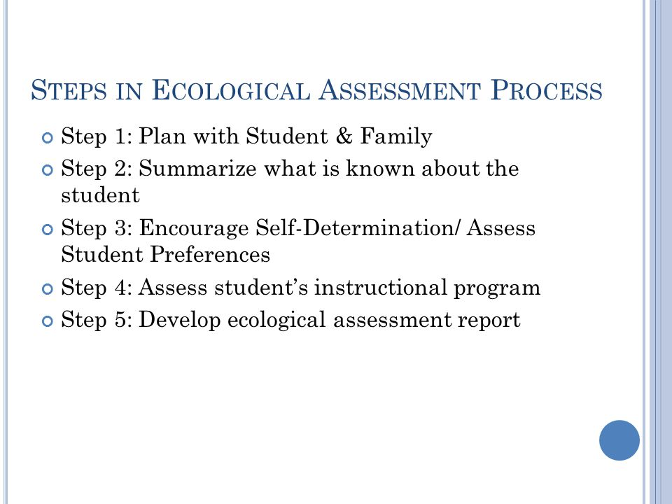Steps in Ecological Assessment Process