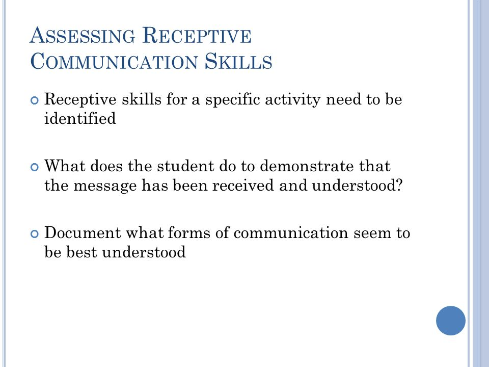 Assessing Receptive Communication Skills