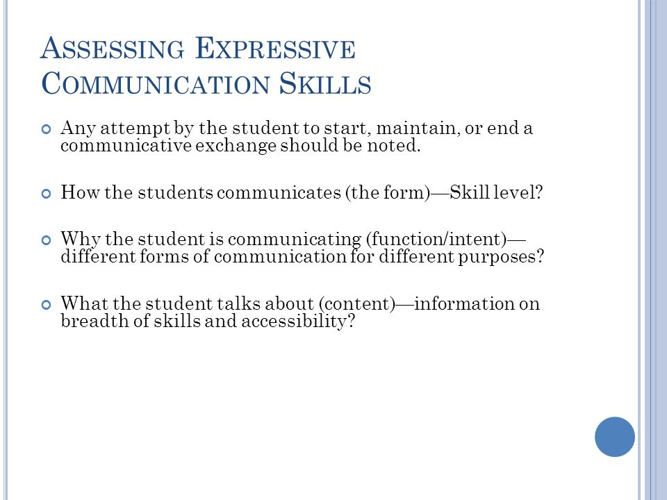 Assessing Expressive Communication Skills