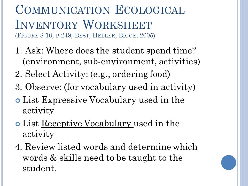 Communication Ecological Inventory Worksheet (Figure 8-10, p