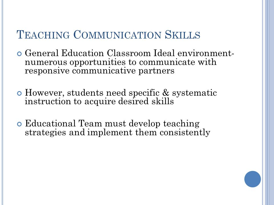 Teaching Communication Skills
