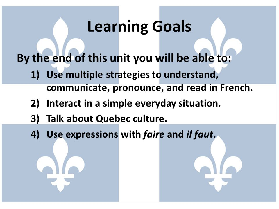 Learning Goals By the end of this unit you will be able to:
